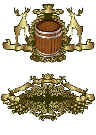 heraldic barrel wine beer luxury element Stock Vector - 10107975