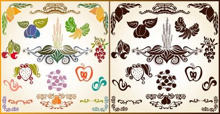 marca libros: elemento de silueta de patr�n de fruta planta
