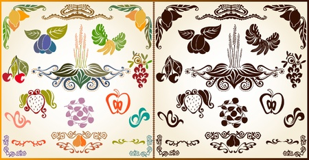 weegbree: fruit plant patroon silhouet element Stock Illustratie
