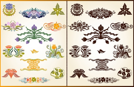 set style plant flower pattern silhouette element Vectores