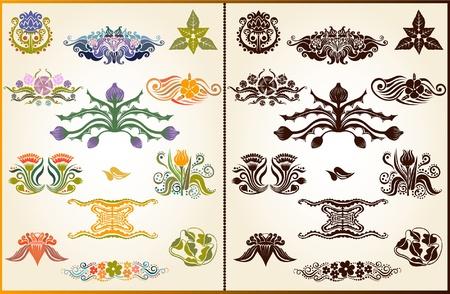 thistle: set style plant flower pattern silhouette element Illustration
