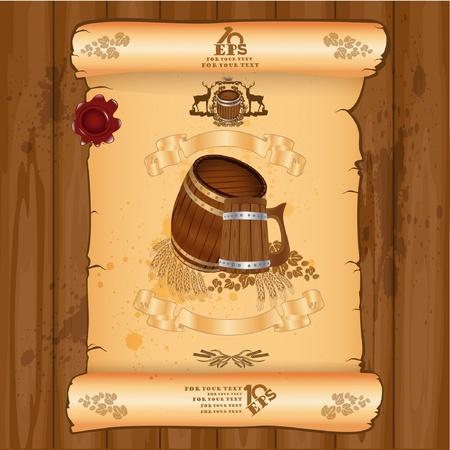 alcohol cardboard: advertising banner beer label background Illustration