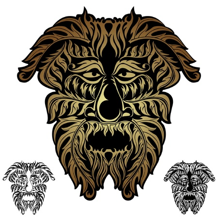 forest spirit demon face tribal Vector
