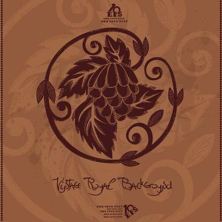 vintage royal background hop grapes Vector