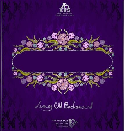 old book violet luxury florish background Vector