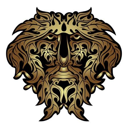gold forest spirit face Vector