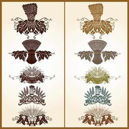 grain hop bear pattern element Illustration