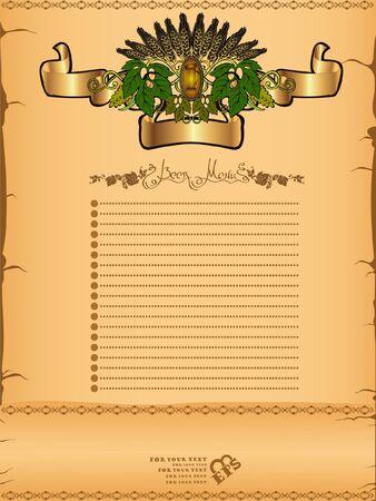 beer grain hop menu background banner Vector