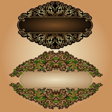 leaves old luxury banner label background Vector