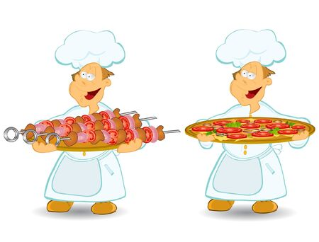 cook chief pizza meat Vector