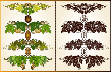 beer label design: set hop beer pattern silhouette element Illustration