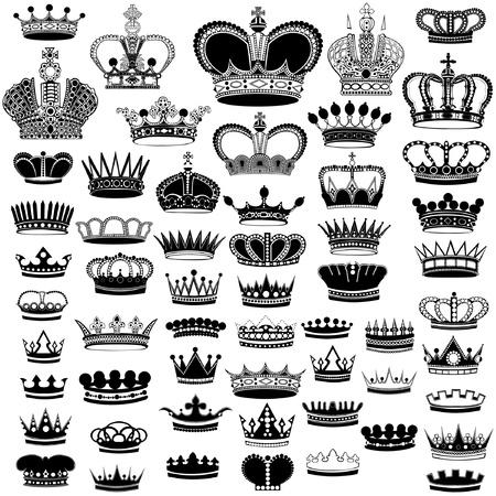 duży zestaw korona sylwetka Ilustracje wektorowe
