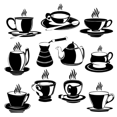 tea coffee cup silhouette set Stock Vector - 11865061