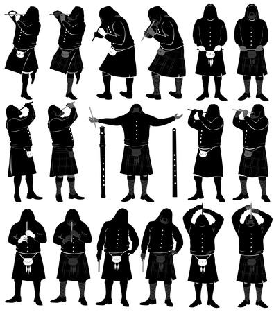 kilt: Scotland silhouette flute musician Illustration