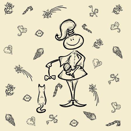 sketch girl kid cartoon character Vector