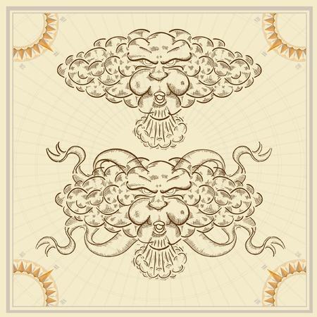 mano de dios: nube de viento de cara boceto antiguo grabado