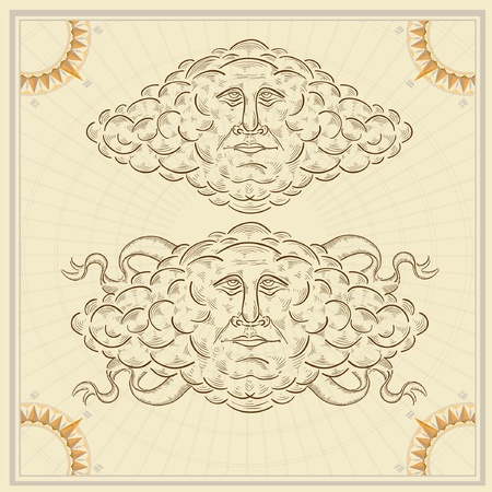 cloud face old engraving sketch Vector