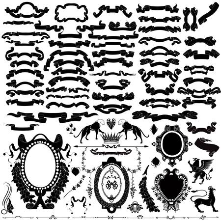 blasone: silhouette set araldico del nastro Vettoriali