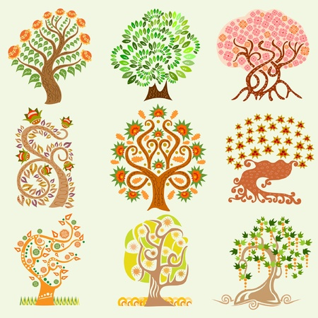folk art: cartoon set tree
