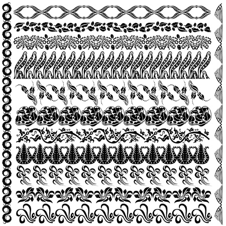 art nouveau silhouette pattern edge element Vector
