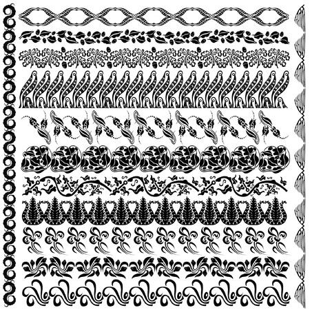 art nouveau silhouette pattern edge element Vector
