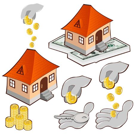 buy house: buy house credit money icon Illustration