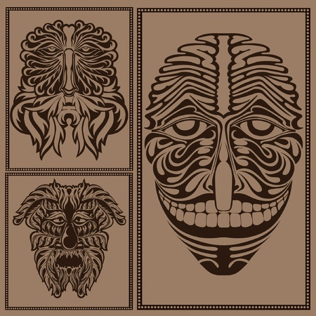 face mask forest spirit god devil Vector