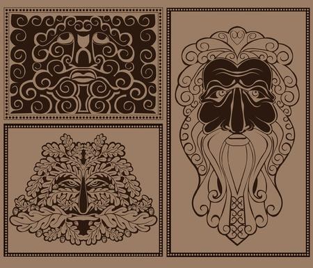 descent: mask face forest spirit god Illustration