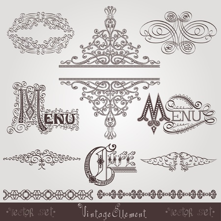 old calligraphic royal ellement banner Vector