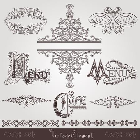 old calligraphic royal ellement banner Vector