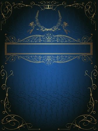 victorian style: blue royal background advertising Illustration