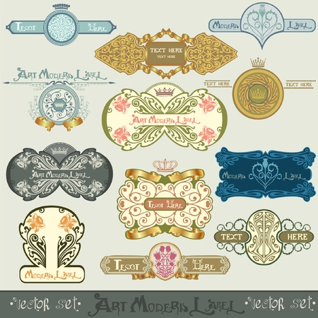 art nouveau label banner Vector