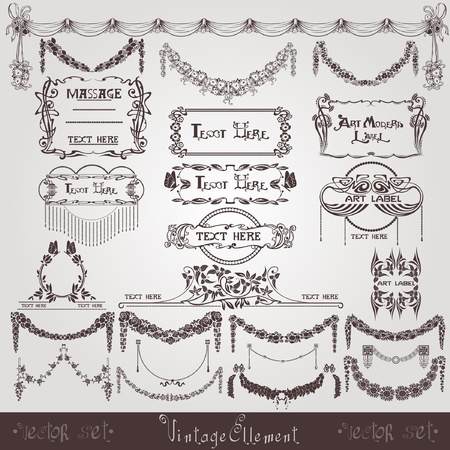 art nouveau wreath banner label Vector