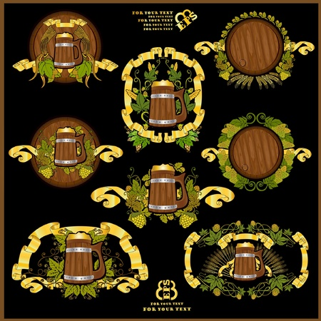 gold beer label banner Vector