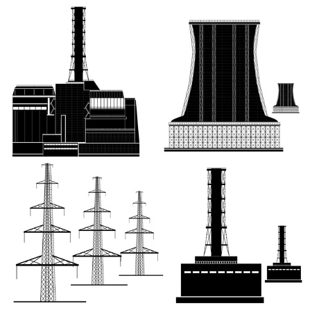 nuclear electric plant station silhouette Vector