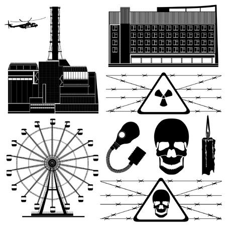 bombe atomique: Tchernobyl b�timent symbole de la zone �l�ment silhouette