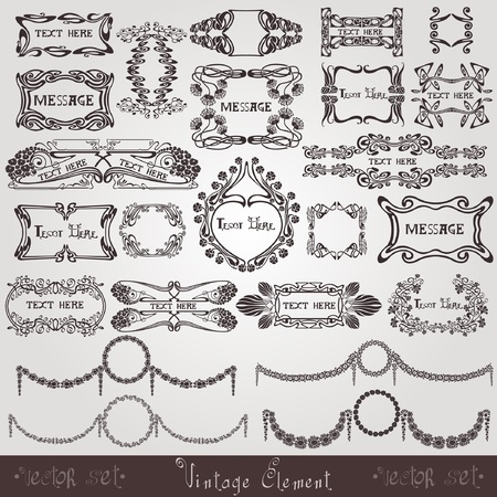 art nouveau label modern banner element Çizim