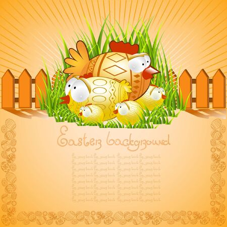 easter background chiken Vector