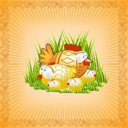 easter background chicken hen Vector