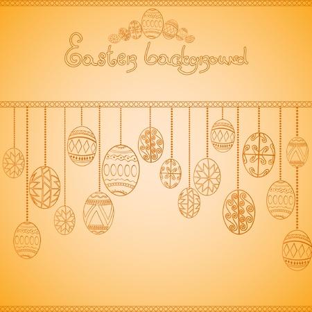 easter egg engraving background Stock Vector - 12491540
