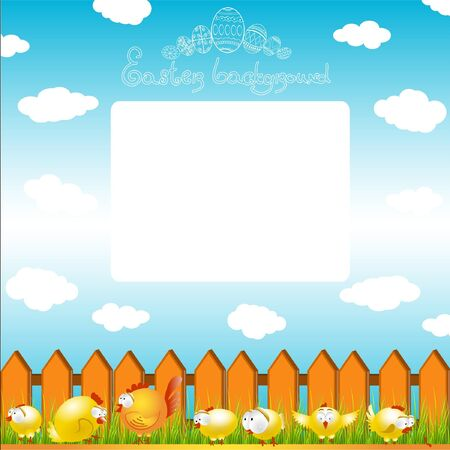 easter egg chicken hen color background Vector