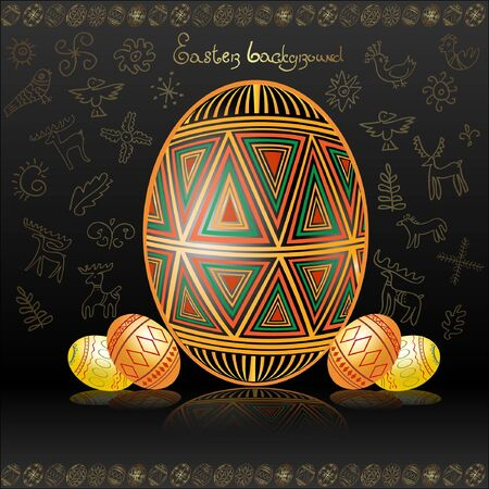 easter egg background gold Vector