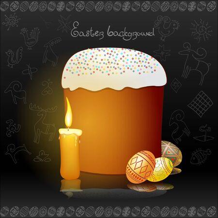 easter egg candle background banner Vector