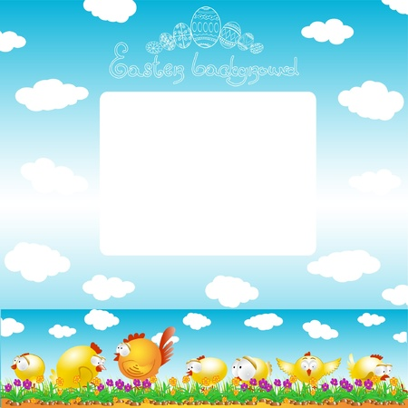 easter background egg chicken hen color Vector