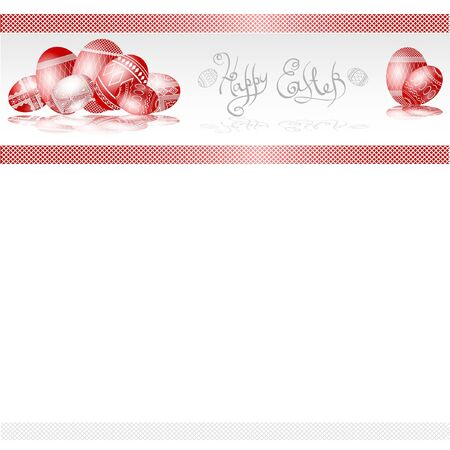 red easter egg banner folk style background Vector