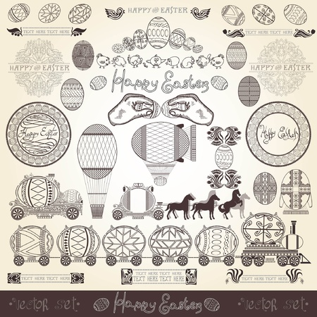 easter old engraving banner element Vector