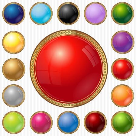 bouton brillant: Web luxe bouton cercle de couleur