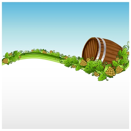 barrel beer background banner hop Vector