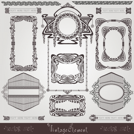 old  banner vintage  label art nouvea frame Stock Vector - 13611877