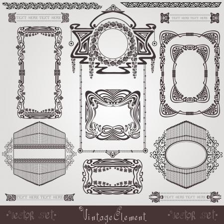 old  banner vintage  label art nouvea frame Vector